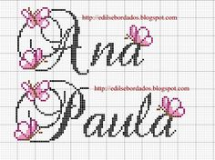 Edilse Bordados: Nomes em ponto cruz!                                                                                                                                                                                 Mais Cross Stitch Letters, Cross Stitch Baby, Diy Embroidery, Cross Stitch Embroidery, Le Point, Perler Beads, Cross Stitching, Pixel Art, Crochet Projects
