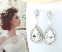 "Bridal Earrings ""Absolutely Stunning"" Silver Crystal Wedding Earrings on Etsy, $38.00"
