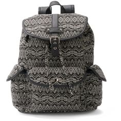 Candie's Brennan Aztec Backpack (Blue) (455 MXN) ❤ liked on Polyvore featuring bags, backpacks, blue, candie's, drawstring backpack, knapsack bags, top handle bag and print bags