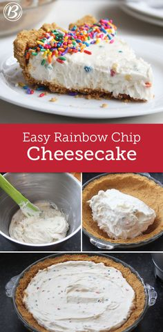 A quick graham cracker crust and delicious no-bake filling makes this fun cheesecake unbelievably easy! A quick graham cracker crust and delicious no-bake filling makes this fun cheesecake unbelievably easy! No Bake Treats, No Bake Desserts, Just Desserts, Delicious Desserts, Dessert Recipes, Yummy Food, No Bake Cheesecake Filling, Best Cheesecake, Cheesecake Recipes