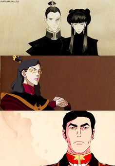 Mai & Zuko's Family. honestly I think izumi turned out looking like some communist lady....but whatever, gen. iroh turned out awesome, so that makes me happy (and no, I don't ship maiko...sorry)