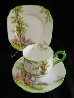 C 1930 Art Deco Royal Albert Crown China Trio 'Greenwood Tree'