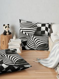 Shop Opart - Black and White Floor Pillow Magic of lines and aquares in black and white #mademesmiledesign #mademesmile #redbubble #pillows #pillow #redbubblepillow #redbubblepillows #redbubblethrowpillow #redbubblefloorpillow #vertorgraphic #CustomDesigned #geometric #inspirationpillow #homedecor #monochrome #homedecorideas #opart #opticalillusions #lineart #blackandwhite