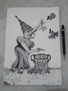 Bruxa - Desenho feito com nanquim. 02/05/2011