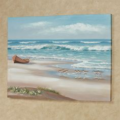 Enjoy the Simple Life with this amazing ocean view. This printed coastal canvas wall art features crashing waves, a rowboat, and shorebirds in the sand. Seascape Paintings, Landscape Paintings, Beach Paintings, Tiger Painting, Sand Painting, Ocean Scenes, Watercolor Pictures, Coastal Art, Coastal Interior