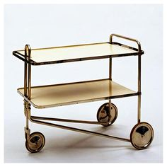 Tea Trolley Model B54 (1928) Marcel Breuer for Gebrüder Thonet, Vienna. Nickel-plated tubular steel, rubber and painted wood #marcelbreuer #gebruderthonetvienna #thonet #1928 #teatrolley #vienna #austriandesign #industrialdesign #interiordesign #interiors #furniture #modernism #inspiration