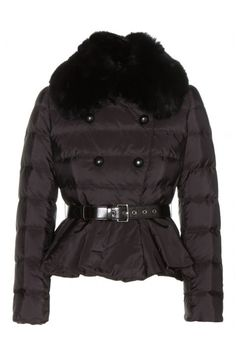 Miu Miu Peplum Down Jacket With Fur Trum, $1,675; mytheresa.com Courtesy of Retailer - 15 Chic Puffer Jackets You'll Actually Want to Wear - Elle