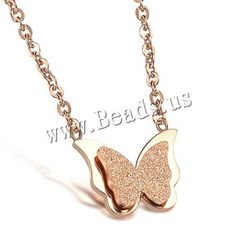 Stainless Steel Jewelry Necklace Butterfly rose gold color plated oval chain & stardust 11x15m,china wholesale jewelry beads Semi Precious Beads, Stainless Steel Jewelry, Rose Gold Color, Lampwork Beads, Wholesale Jewelry, Gemstone Beads, Beaded Jewelry, Glass Beads, Plating