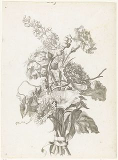 Jacques Bailly (I)   Boeket van verschillende bloemen, Jacques Bailly (I), c. 1670   Het boeket bestaat uit rozen, anemonen, een anjer, akkerwinde, chrysanthemums, riddersporen en kaasjeskruid in knop.