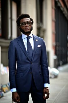 Street Gents | Que, Shades of Blue...Mercer Street - DapperLou.com | Mens Fashion Blog | Street Style