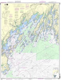 "NOAA Nautical Chart 13290: Casco Bay 35x46"""