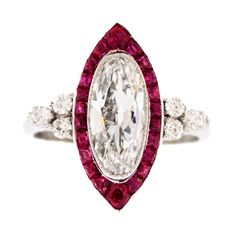 1913 Birks Ruby Diamond Ring | From a unique collection of vintage solitaire rings at http://www.1stdibs.com/jewelry/rings/solitaire-rings/