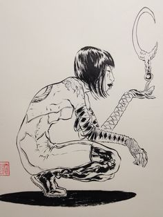 KABUKI brush  ink. Drew this last night. Next year is 20th anniversary of KABUKI being published. I began making it in January of 1993. More in albums here: https://www.facebook.com/pages/David-Mack/21231086294?ref=hlsk=photos_albums