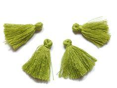 5 Pieces Tiny Olive Green Tassels  Cotton Tassels  by FoxyBeadsCo
