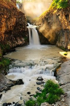 Morning Sunlight, White River Falls, Oregon #waterfall #photograph #stream #pool #cliffs