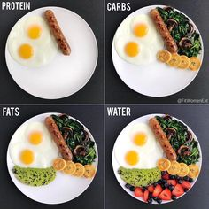 How to Build a Balanced Meal🍛 *Swipe for 4 examples!Protein >> Carbs >> Fats >> Veggies🥗🍅🍠🥞🥚 @ 🍳Protein: Eggs/ Sausages 🍠Carbs: Beans/ plantains/ fruit 🥜Fats: Avocado/ nuts/ and eggs 🥒Veggies: Any! ✔️eggs are fat too! ✔️veggies are carbs too% Healthy Meal Prep, Healthy Snacks, Healthy Eating, Healthy Recipes, Yummy Snacks, Healthy Fats List, Healthy Carbs, Dinner Healthy, Healthy Weight
