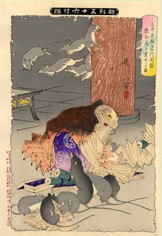 fromthefloatingworld: Priest Raigo of Mii Temple transformed into a rat by wicked thoughts. From the series Thirty Six Ghosts, Tsukioka Y... japanese art graphics painting print