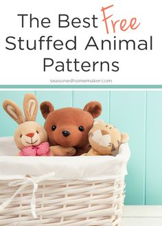 Softies, Plushies, Stuffies, or Stuffed Animals. Any name will do. This collection of The Cutest Free Stuffed Animal Patterns will put a smile on your face. There's something for everyone. Don't forget: Sewing softies is an excellent way to make a good use of those sewing scraps and an ideal project for sewing beginners. via @seasonedhome
