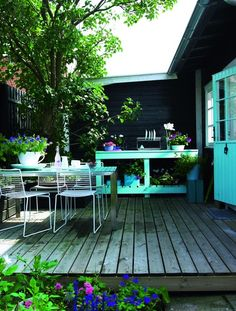 Terras - Terrace - Patio - Wood - Vlonder - Aqua - Turquoise - Blue - Colors - Garden - Tuin <3 Fonteyn