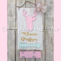 Shabby Chic • We Love You Deerly • Deer Antler Hospital Door Hanger • Baby Girl • Birth Announcement