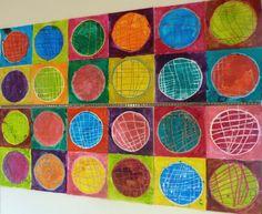 Maternelle : à la manière d'Andy Warhol tout en pratiquant les cercles et le quadrillé...