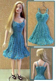 crocheted dress for a 15 inch fashion doll.
