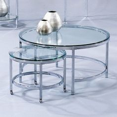 Bassett Mirror T1792-120C Patinoire Round Cocktail Casters End by Bassett Mirror Company. $375.53. Finish:Chrome   Round chrome and glass modular cocktail table  Smaller chrome and glass modular nesting castered table  Polished bull-nose glass tops. Save 11% Off!