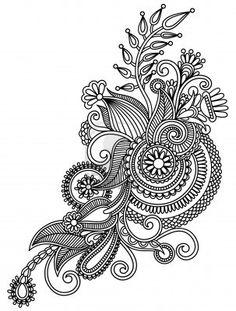 Original Hand Draw Line Art Ornate Flower Design Ukrainian Traditional.. Royalty…