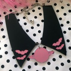 Black and Pink Bat and Saturn Acrylic Collar by imyourpresent