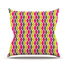"Nandita Singh ""Bohemian"" Pink Yellow Throw Pillow"