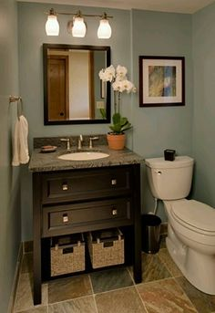 bathroom design collections wallner builders traditional powder room bluish gray walls and dark wood work great in small bathroom love this vanity