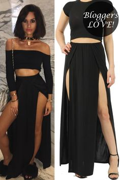 Approx Length: (based on a UK size Polyester Elastane Sizes 8 10 12 14 Available in Black and Rose Two Piece Skirt Set, Skirts, Outfits, Inspiration, Black, Dresses, Fashion, Outfit, Biblical Inspiration