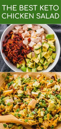 Keto Chicken Salad With Bacon, Avocado, & Caesar Dressing - Savory Tooth Looking for healthy lunch ideas? Make this delicious keto chicken salad loaded with bacon, avocado, and green onions! You can use rotisserie Salad Recipes With Bacon, Bacon Recipes, Healthy Dinner Recipes, Diet Recipes, Chili Recipes, Cheese Recipes, Lunch Recipes, Healthy Food, Poulet Keto