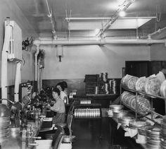 Historic Photograph of Film Editors At Columbia Studios Film Reels, Columbia Pictures, Old Hollywood, Filmmaking, Old School, Photos, Cinema, California, Studios