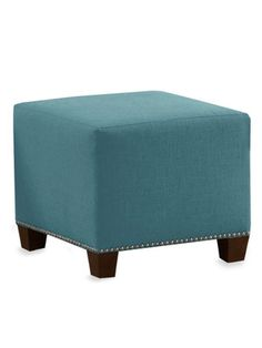 More teal than green..so small yet so grand! Nail Button Ottoman in Linen by Platinum Collection by SF Designs on Gilt Home