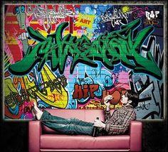 Poster Graffiti Wand Dekoration Bunte Zeichen Schriftzüge Pop Art Mauer  Street Style Writing Hip Hop Wallpaper