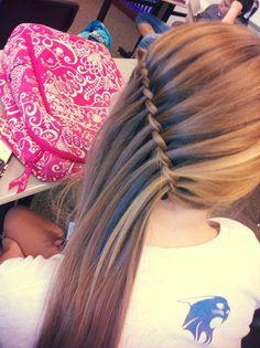 Got done side waterfall braiding Hannah's hair. Very simple but cute!