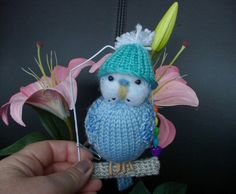 "Budgerigar  Knitted life size Budgie  ""Toby  "" swing and knitted hat."