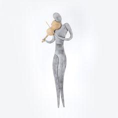 Metal Wall Ornament 3D - Violin Player