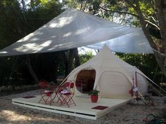 Mira's awesome #lotusbelletents platform in Byron Bay www.lotusbelle.com.au Tent Camping, Glamping, Small Space Living, Small Spaces, Lotus Belle Tent, Bell Tent, Create Space, Byron Bay, Outdoor Areas