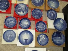 "81 B&G, Copenhagen and other holiday collector plates with boxes, includes several 6"" Mother's Day plates, several 7"" Jule plates, etc"
