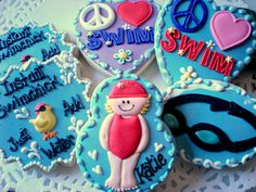 Swim Cookies :) Too darn adorable! Perfect for a child's pool party! Cut Out Cookies, Cute Cookies, Sugar Cookies, Beach Dessert, Swim Team Gifts, Gourmet Cookies, Childrens Party, Themed Cakes, Cookie Decorating