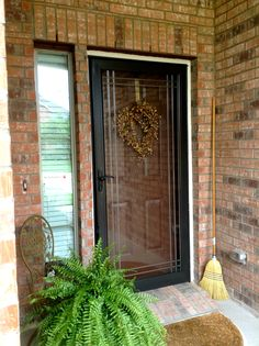 Stained Wood Front Door Behind Painted Storm