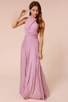 LULUS Exclusive Tricks of the Trade Mauve Maxi Dress at Lulus.com! Leaning towards the taupe colour.