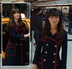 Zooey Deschanel's Navy coat with red trim on Yes Man.  Outfit Details: http://wwzdw.com/z/2361/ #WWZDW