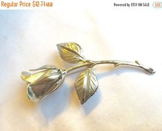 Silver Rose Brooch Vintage Silver Rose Brooch and PIn Long Stem Open Rose in Silver tone Metal by StudioVintage on Etsy Open Rose, Silver Roses, Vintage Brooches, Vintage Silver, Buy And Sell, Romantic, Retro, Handmade, Stuff To Buy