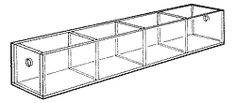 """Mini Tray-1"""" H x 10"""" W x 1-3/4"""" D. Four 2 1/4""""-wide compartments."""