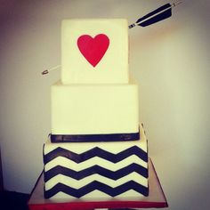 Arrow cake from one of my weddings!  Cake by: Sweet & Saucy Shop