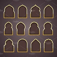 Design Arab windows Graphics Gold Design Arab windows for Ramadan Kareem Template by Modern vector Islamic Decor, Islamic Art, Arabic Decor, Moroccan Design, Moroccan Style, Morrocan Decor, Moroccan Doors, Moroccan Bedroom, Moroccan Lanterns