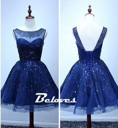 Blue Sequined illusion Homecoming Dress With V Back